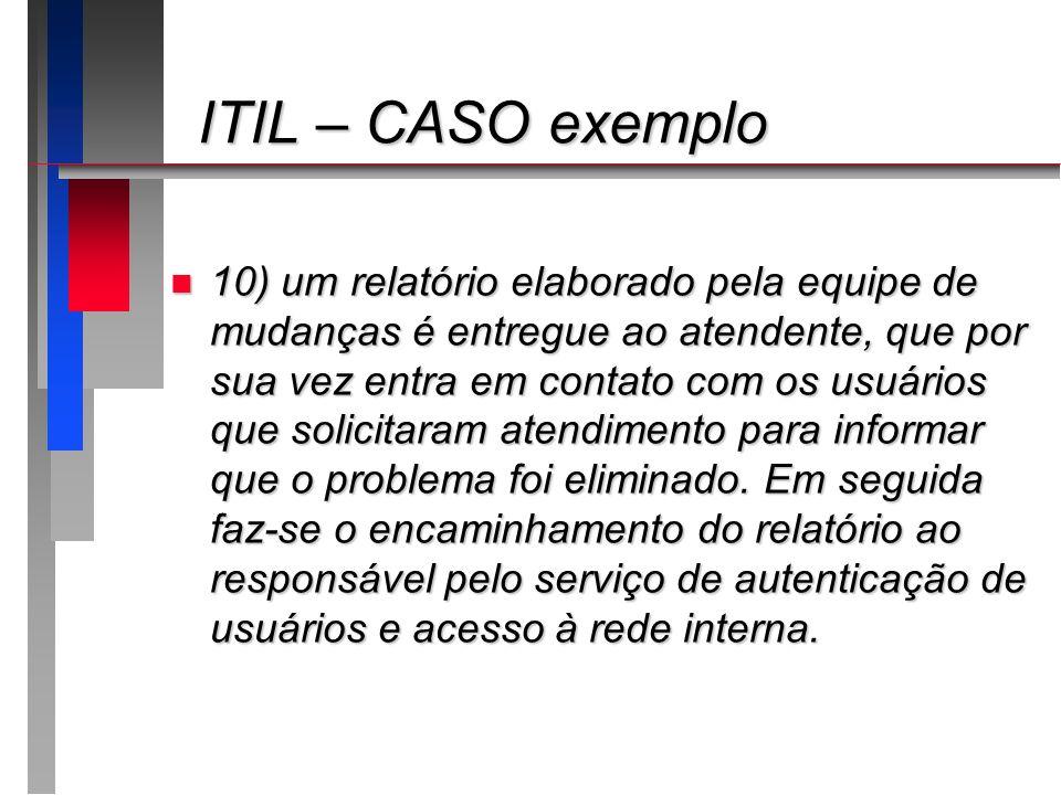 ITIL – CASO exemplo ITIL – CASO exemplo n 10) um relatório elaborado pela equipe de mudanças é entregue ao atendente, que por sua vez entra em contato