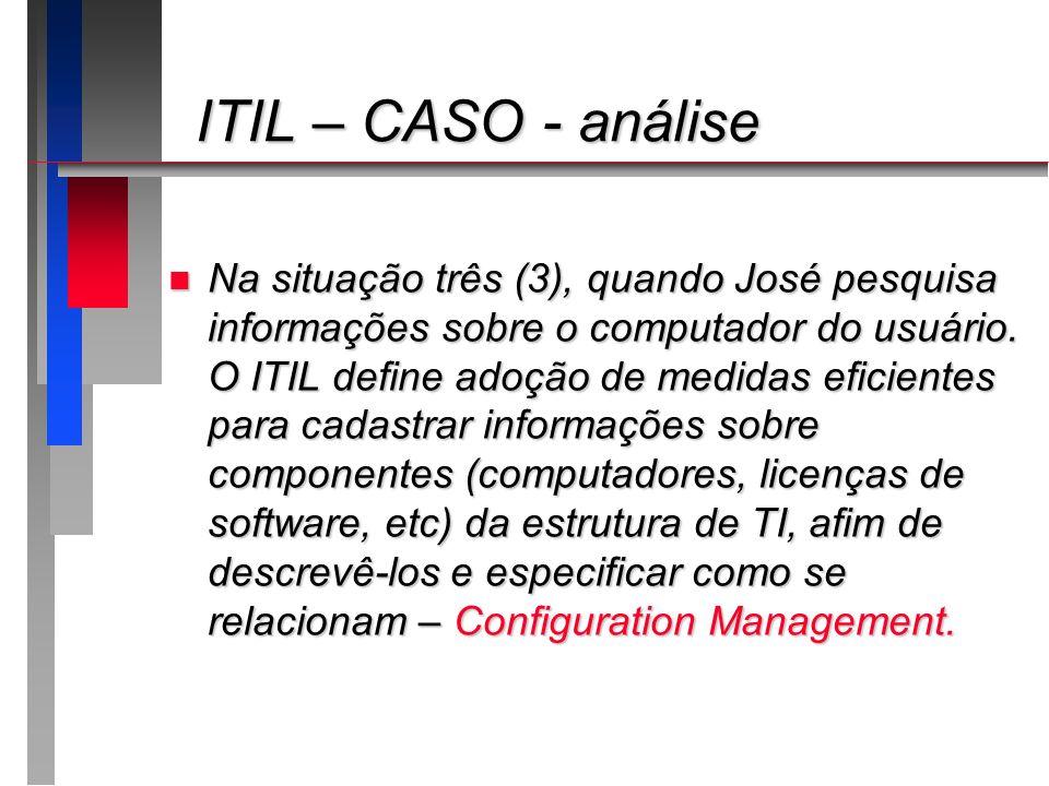 ITIL – CASO - análise ITIL – CASO - análise n Na situação três (3), quando José pesquisa informações sobre o computador do usuário. O ITIL define adoç