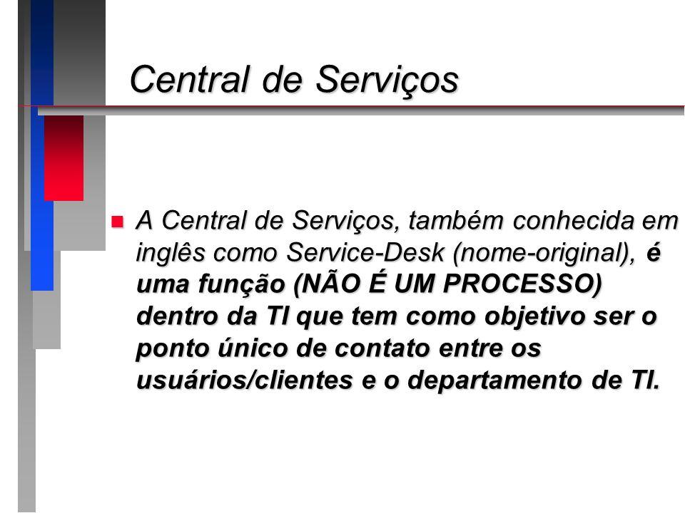 Central de Serviços Central de Serviços n A Central de Serviços, também conhecida em inglês como Service-Desk (nome-original), é uma função (NÃO É UM