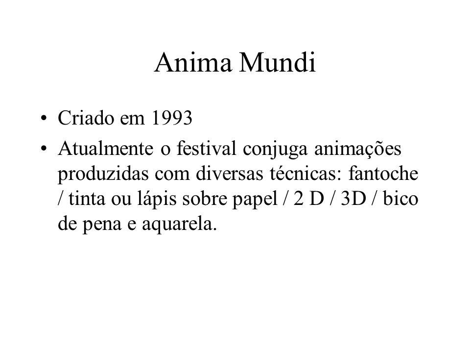 Anima Mundi Criado em 1993 Atualmente o festival conjuga animações produzidas com diversas técnicas: fantoche / tinta ou lápis sobre papel / 2 D / 3D