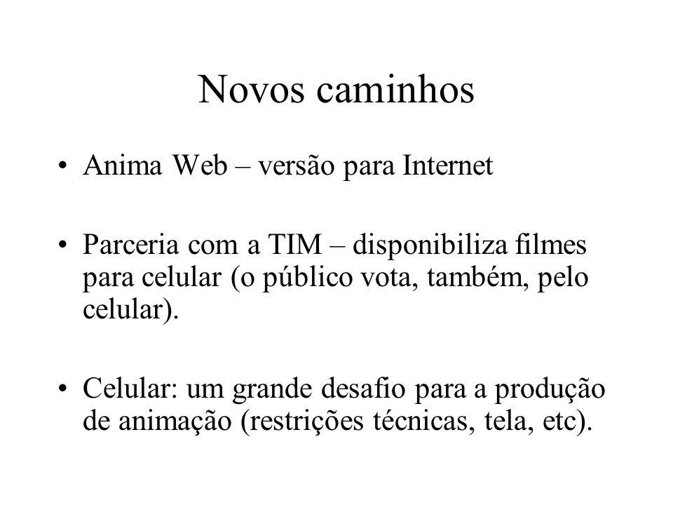 Novos caminhos Anima Web – versão para Internet Parceria com a TIM – disponibiliza filmes para celular (o público vota, também, pelo celular). Celular