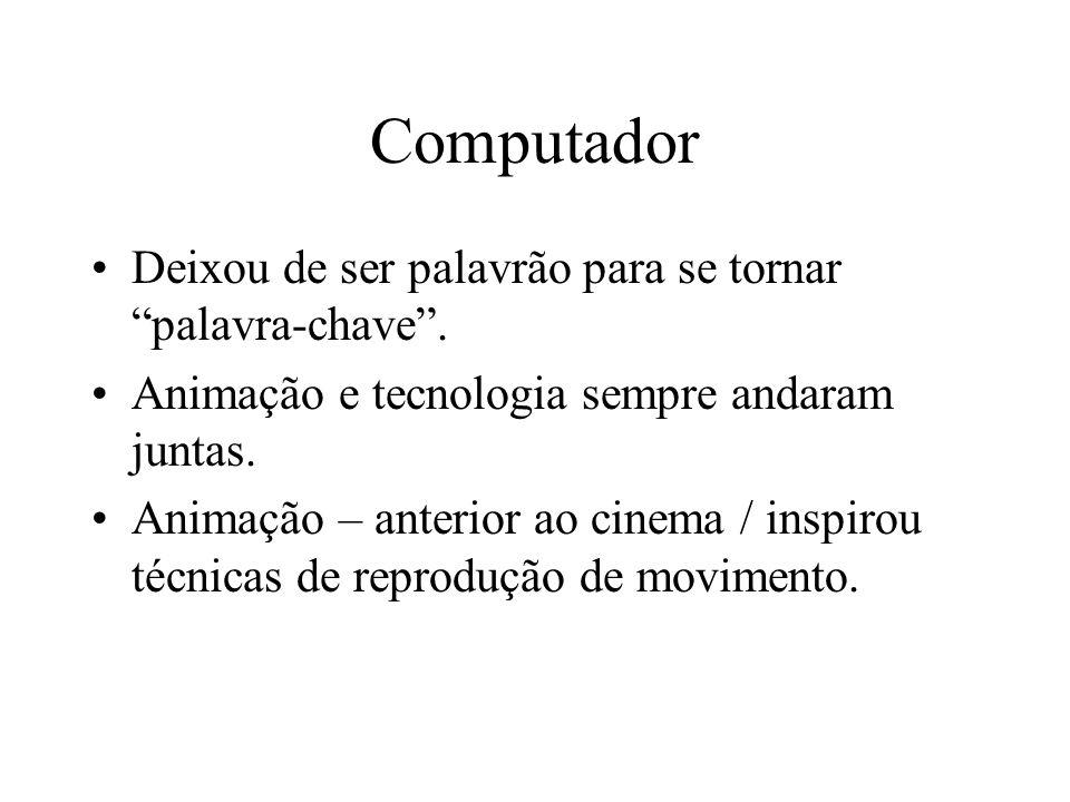 Computador Deixou de ser palavrão para se tornar palavra-chave. Animação e tecnologia sempre andaram juntas. Animação – anterior ao cinema / inspirou
