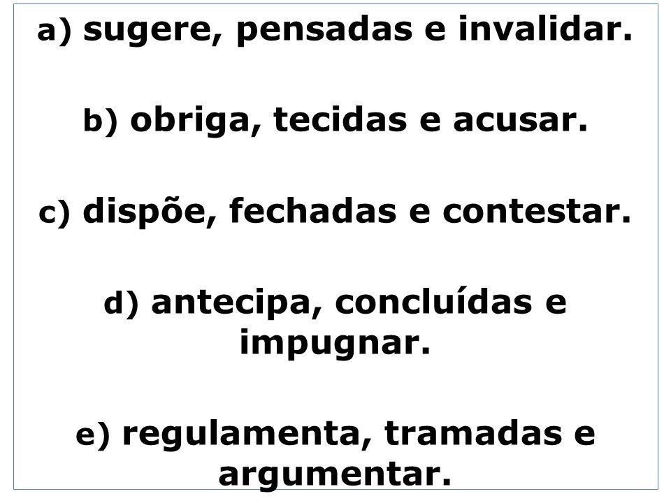 a) sugere, pensadas e invalidar. b) obriga, tecidas e acusar. c) dispõe, fechadas e contestar. d) antecipa, concluídas e impugnar. e) regulamenta, tra
