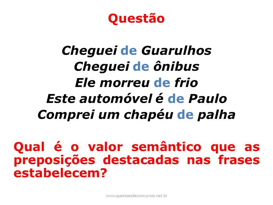 Questão Cheguei de Guarulhos Cheguei de ônibus Ele morreu de frio Este automóvel é de Paulo Comprei um chapéu de palha Qual é o valor semântico que as