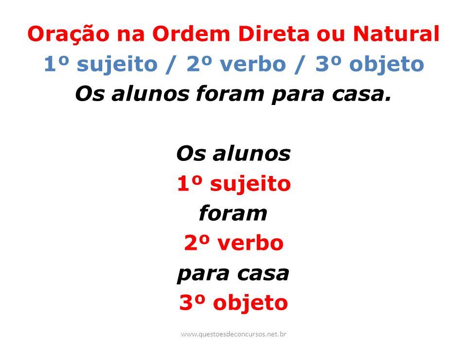 Oração na Ordem Direta ou Natural 1º sujeito / 2º verbo / 3º objeto Os alunos foram para casa. Os alunos 1º sujeito foram 2º verbo para casa 3º objeto