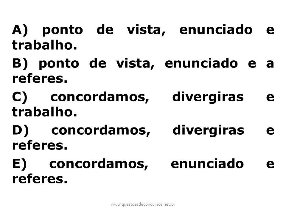 A) ponto de vista, enunciado e trabalho. B) ponto de vista, enunciado e a referes. C) concordamos, divergiras e trabalho. D) concordamos, divergiras e