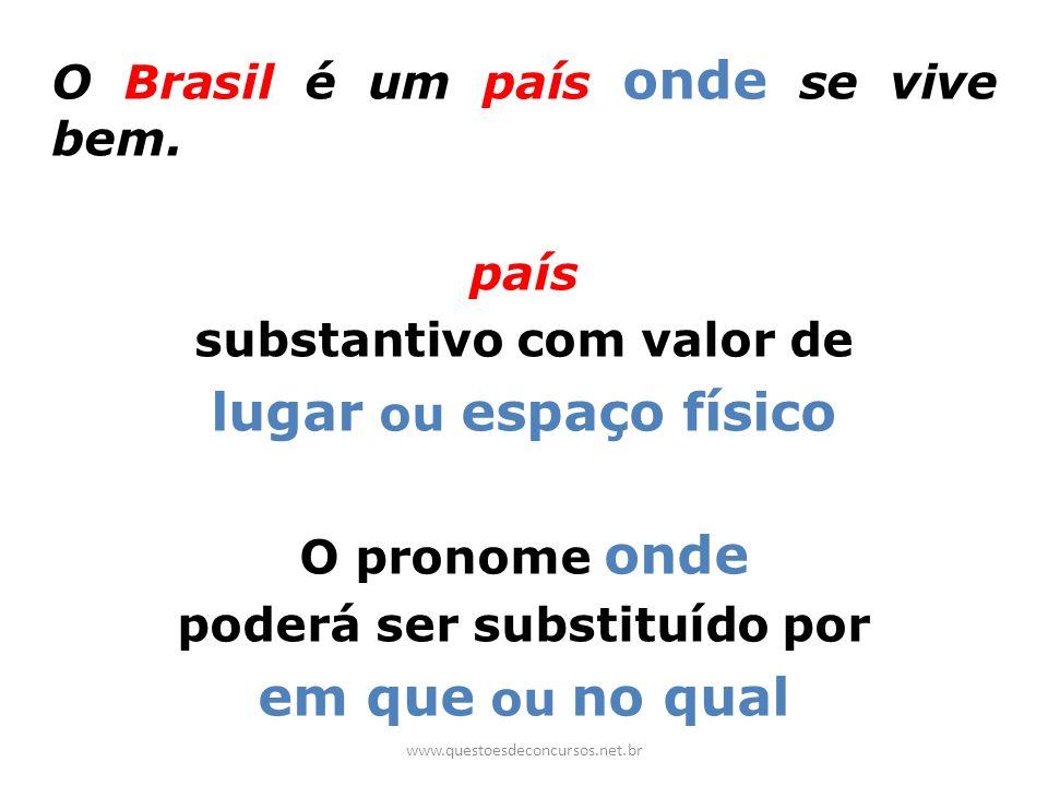 O Brasil é um país onde se vive bem. país substantivo com valor de lugar ou espaço físico O pronome onde poderá ser substituído por em que ou no qual