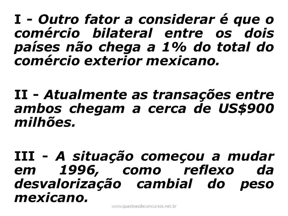 I - Outro fator a considerar é que o comércio bilateral entre os dois países não chega a 1% do total do comércio exterior mexicano. II - Atualmente as