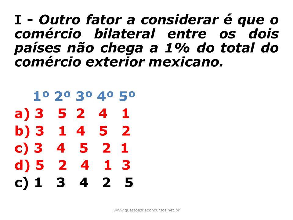 I - Outro fator a considerar é que o comércio bilateral entre os dois países não chega a 1% do total do comércio exterior mexicano. 1º 2º 3º 4º 5º a)