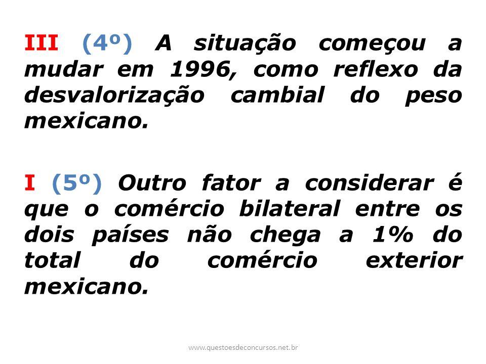 III (4º) A situação começou a mudar em 1996, como reflexo da desvalorização cambial do peso mexicano. I (5º) Outro fator a considerar é que o comércio