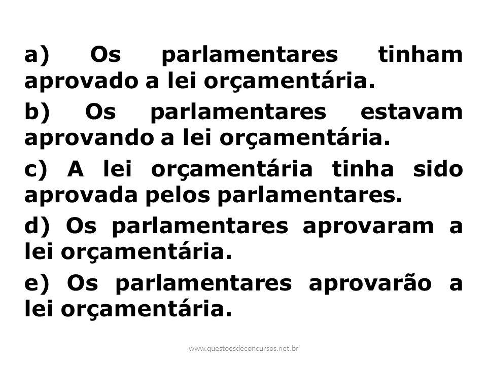 a) Os parlamentares tinham aprovado a lei orçamentária. b) Os parlamentares estavam aprovando a lei orçamentária. c) A lei orçamentária tinha sido apr