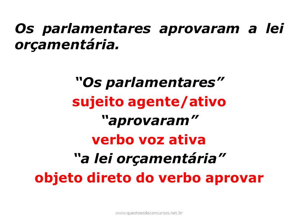 Os parlamentares aprovaram a lei orçamentária. Os parlamentares sujeito agente/ativo aprovaram verbo voz ativa a lei orçamentária objeto direto do ver