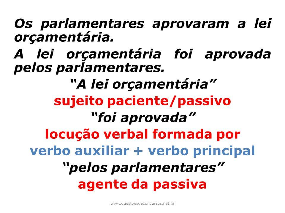 Os parlamentares aprovaram a lei orçamentária. A lei orçamentária foi aprovada pelos parlamentares. A lei orçamentária sujeito paciente/passivo foi ap