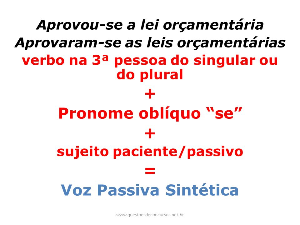 Aprovou-se a lei orçamentária Aprovaram-se as leis orçamentárias verbo na 3ª pessoa do singular ou do plural + Pronome oblíquo se + sujeito paciente/p