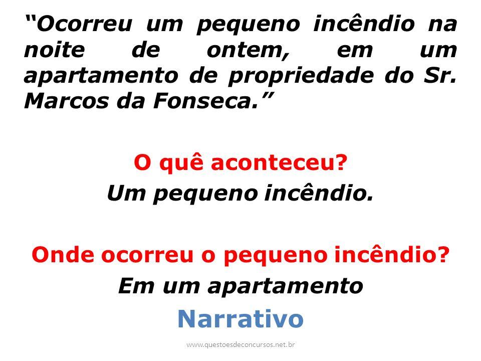 Ocorreu um pequeno incêndio na noite de ontem, em um apartamento de propriedade do Sr. Marcos da Fonseca. O quê aconteceu? Um pequeno incêndio. Onde o