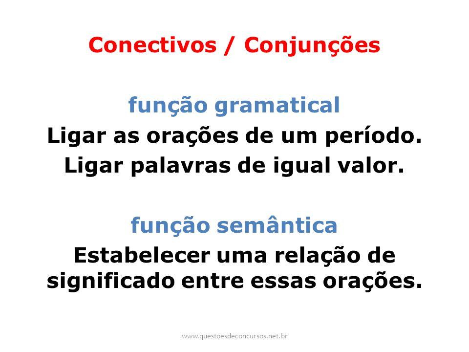 Conectivos / Conjunções função gramatical Ligar as orações de um período. Ligar palavras de igual valor. função semântica Estabelecer uma relação de s
