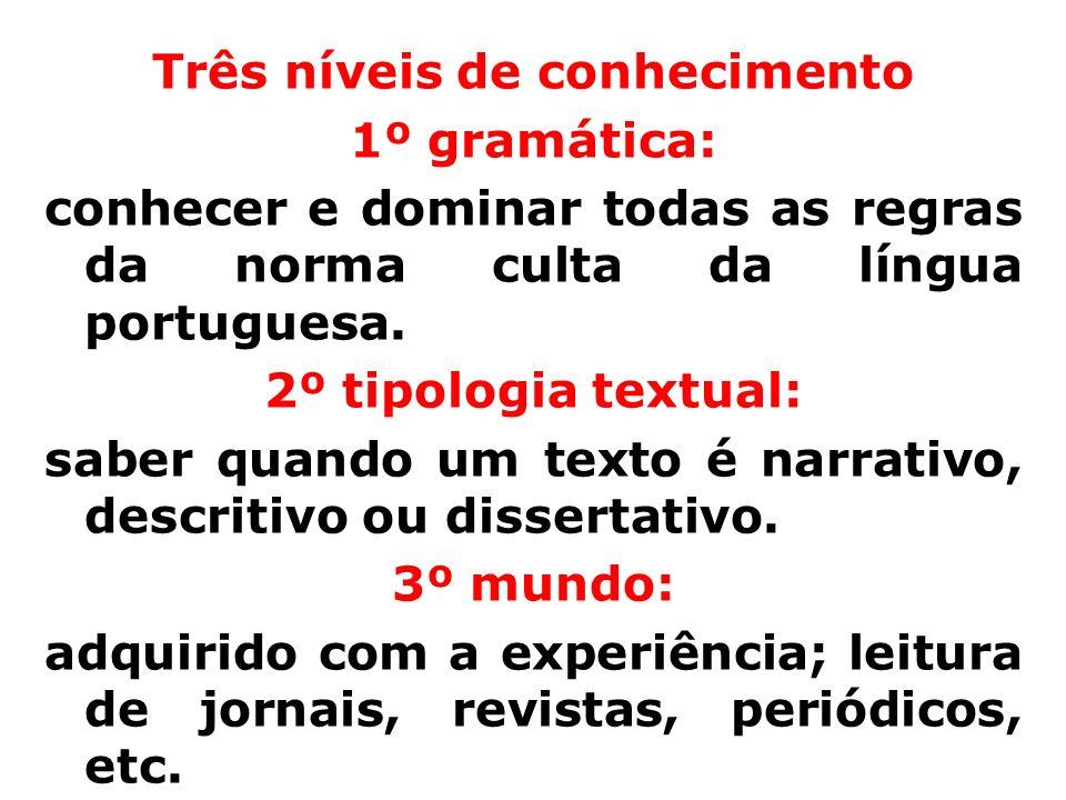 Três níveis de conhecimento 1º gramática: conhecer e dominar todas as regras da norma culta da língua portuguesa. 2º tipologia textual: saber quando u