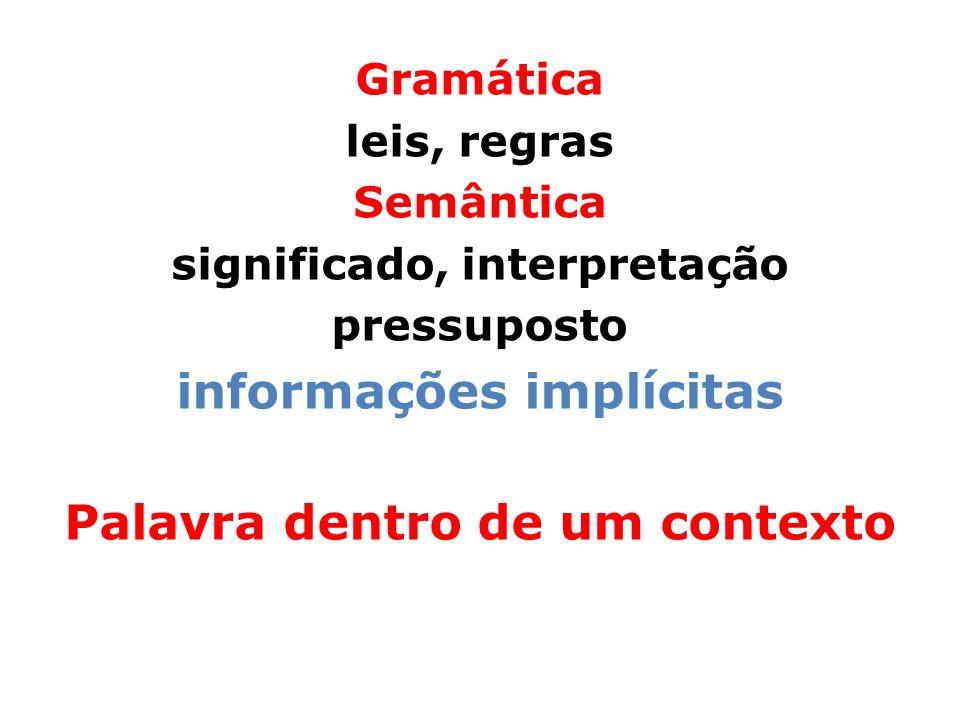 Gramática leis, regras Semântica significado, interpretação pressuposto informações implícitas Palavra dentro de um contexto