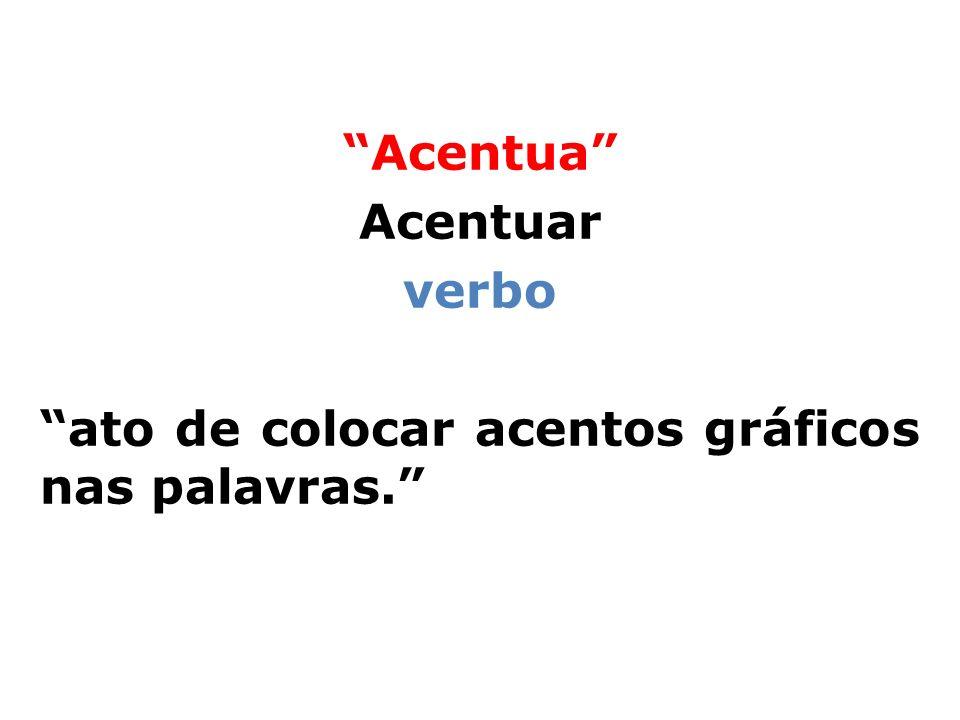 Acentua Acentuar verbo ato de colocar acentos gráficos nas palavras.