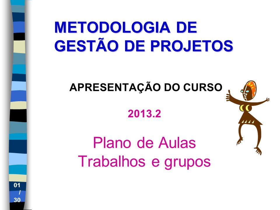 01 / 30 METODOLOGIA DE GESTÃO DE PROJETOS APRESENTAÇÃO DO CURSO 2013.2 Plano de Aulas Trabalhos e grupos