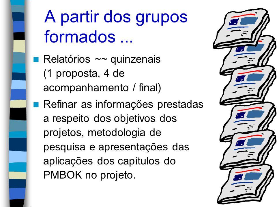 A partir dos grupos formados... Relatórios ~~ quinzenais (1 proposta, 4 de acompanhamento / final) Refinar as informações prestadas a respeito dos obj