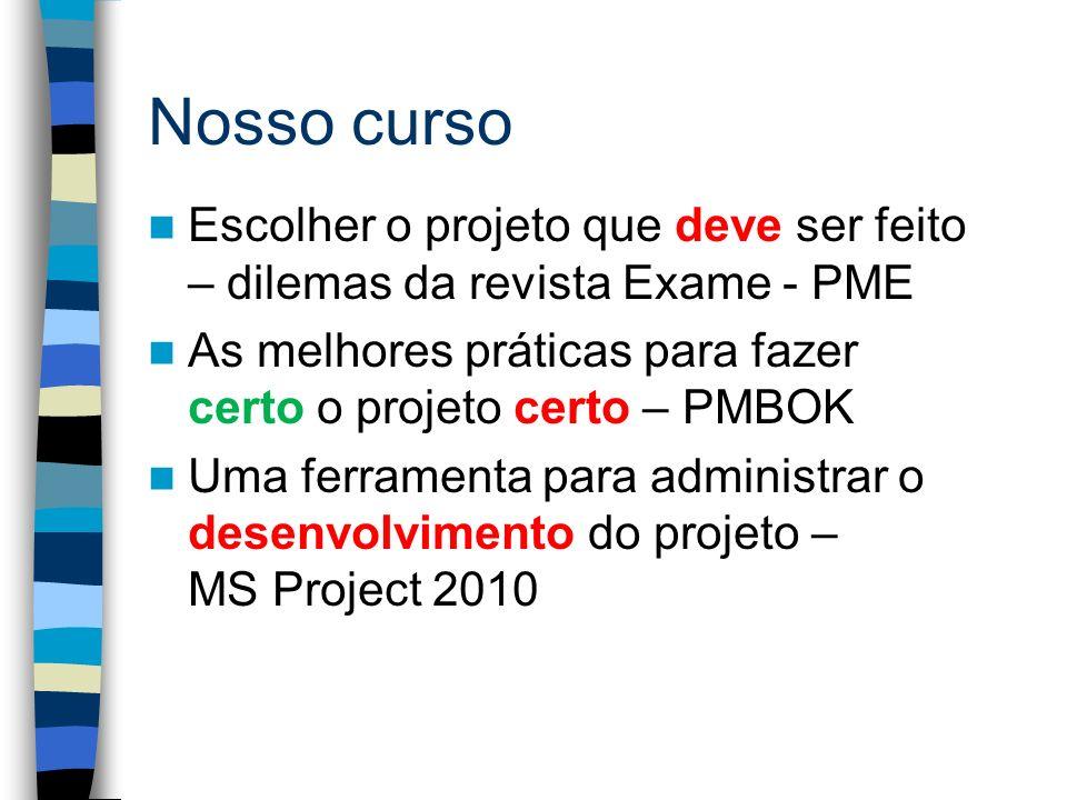 Nosso curso Escolher o projeto que deve ser feito – dilemas da revista Exame - PME As melhores práticas para fazer certo o projeto certo – PMBOK Uma f