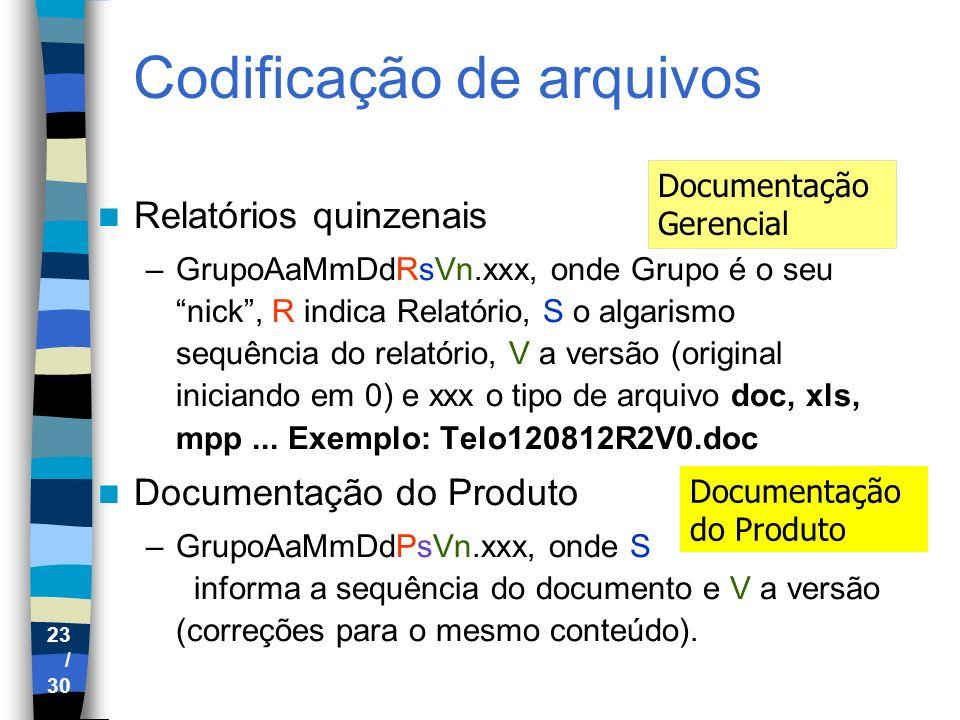 23 / 30 Codificação de arquivos Relatórios quinzenais –GrupoAaMmDdRsVn.xxx, onde Grupo é o seu nick, R indica Relatório, S o algarismo sequência do re