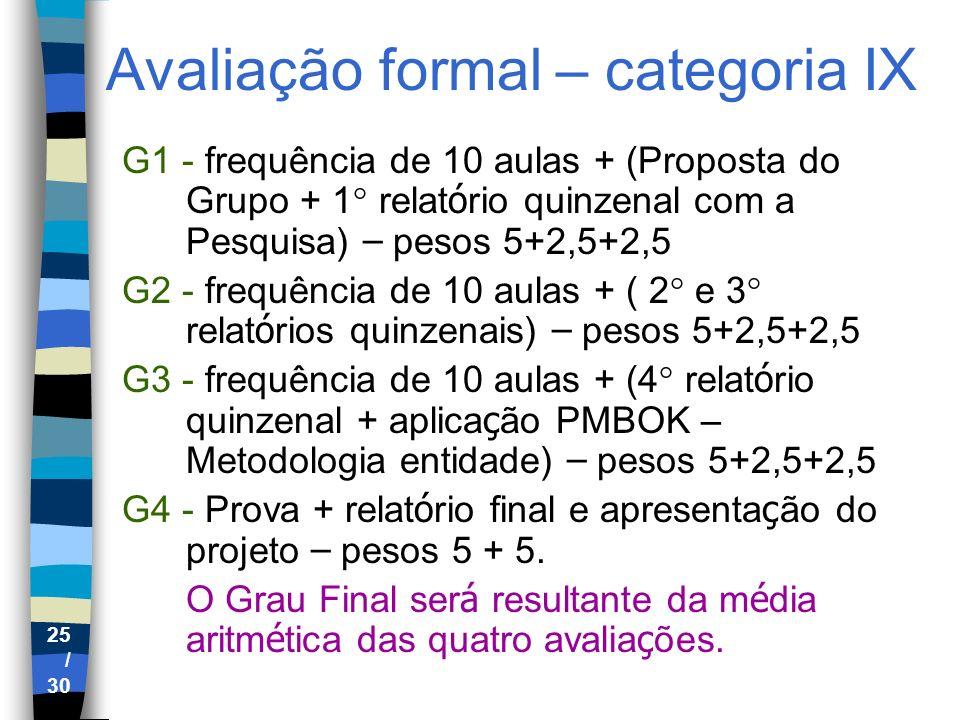 25 / 30 Avaliação formal – categoria IX G1 - frequência de 10 aulas + (Proposta do Grupo + 1° relat ó rio quinzenal com a Pesquisa) – pesos 5+2,5+2,5