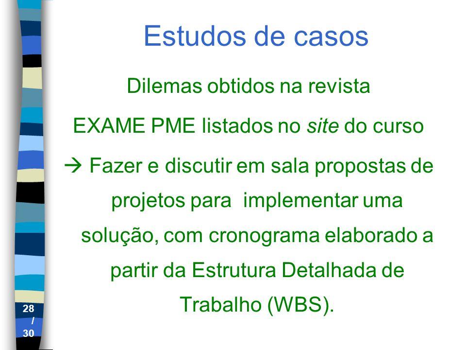 28 / 30 Estudos de casos Dilemas obtidos na revista EXAME PME listados no site do curso Fazer e discutir em sala propostas de projetos para implementa