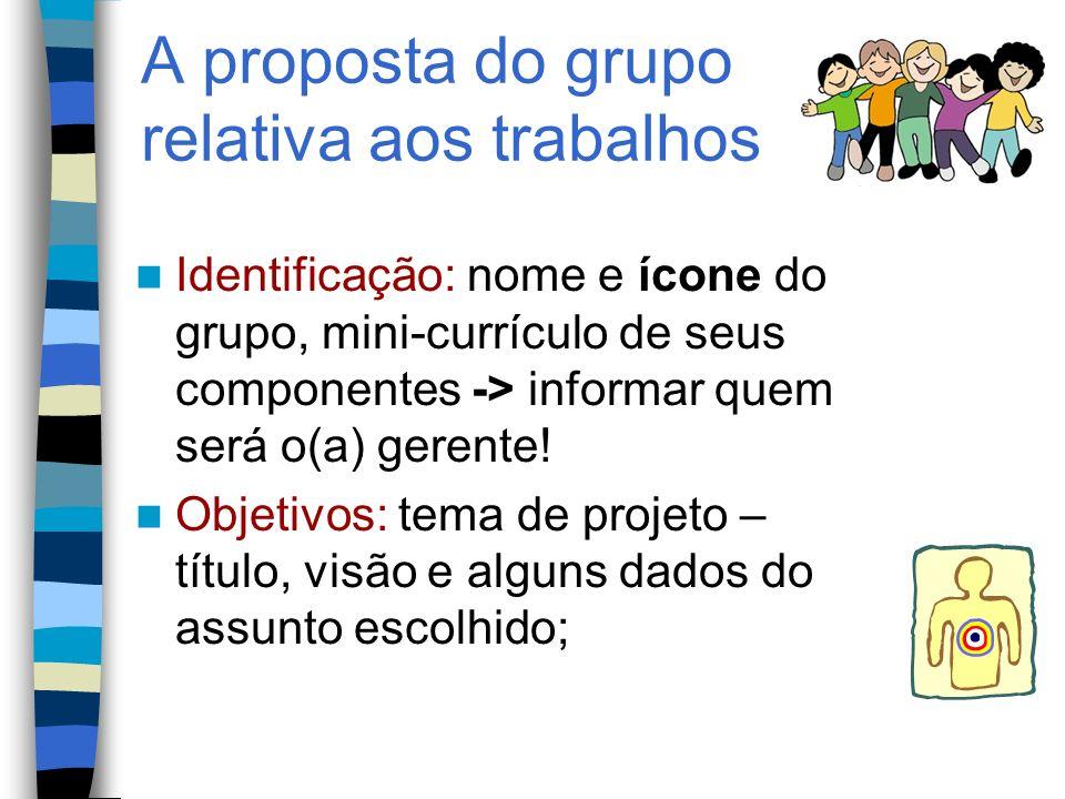 A proposta do grupo relativa aos trabalhos Identificação: nome e ícone do grupo, mini-currículo de seus componentes -> informar quem será o(a) gerente