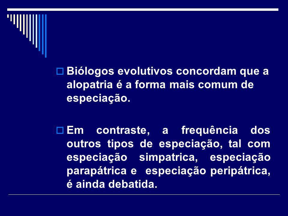 Biólogos evolutivos concordam que a alopatria é a forma mais comum de especiação. Em contraste, a frequência dos outros tipos de especiação, tal com e