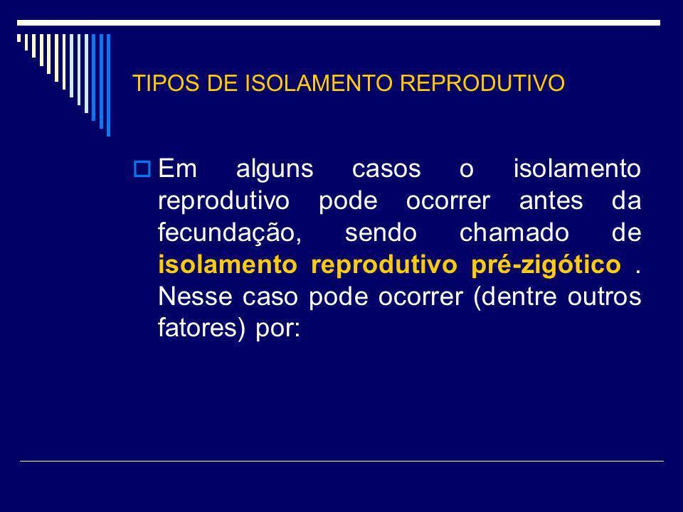 TIPOS DE ISOLAMENTO REPRODUTIVO Em alguns casos o isolamento reprodutivo pode ocorrer antes da fecundação, sendo chamado de isolamento reprodutivo pré