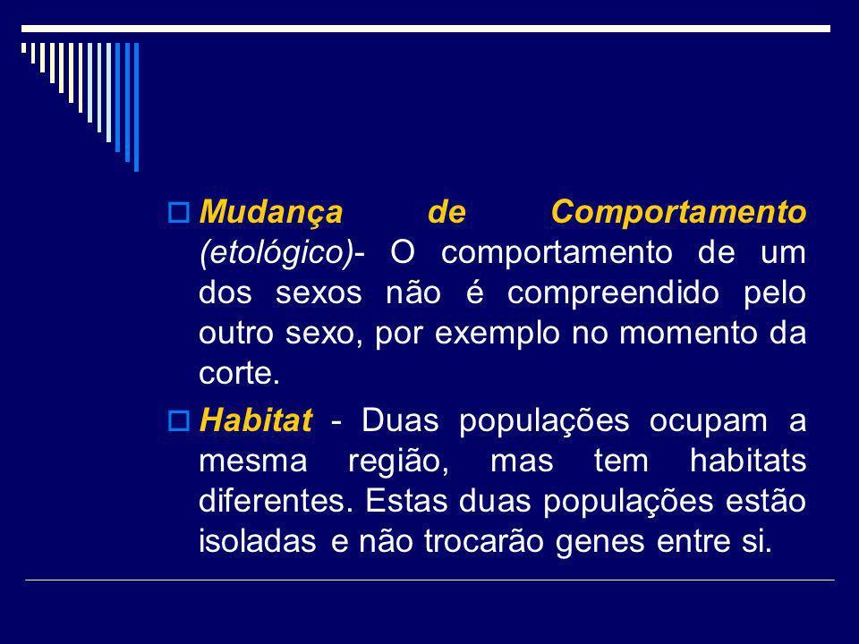 Mudança de Comportamento (etológico)- O comportamento de um dos sexos não é compreendido pelo outro sexo, por exemplo no momento da corte. Habitat - D