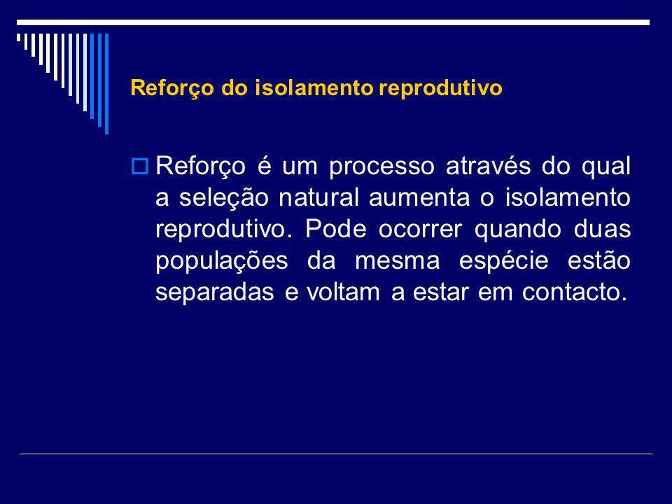 Reforço do isolamento reprodutivo Reforço é um processo através do qual a seleção natural aumenta o isolamento reprodutivo. Pode ocorrer quando duas p