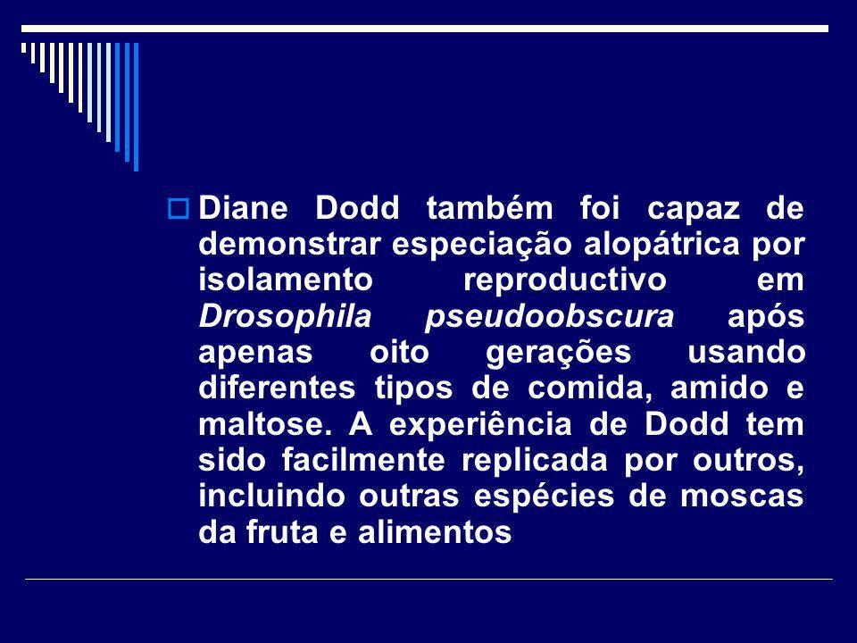 Diane Dodd também foi capaz de demonstrar especiação alopátrica por isolamento reproductivo em Drosophila pseudoobscura após apenas oito gerações usan