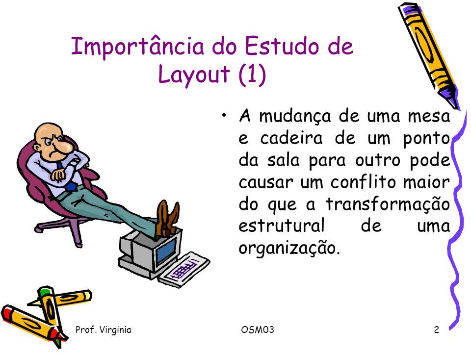 Prof. VirginiaOSM032 Importância do Estudo de Layout (1) A mudança de uma mesa e cadeira de um ponto da sala para outro pode causar um conflito maior