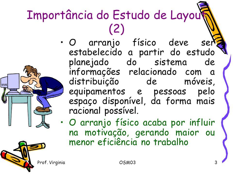 Prof. VirginiaOSM033 Importância do Estudo de Layout (2) O arranjo físico deve ser estabelecido a partir do estudo planejado do sistema de informações