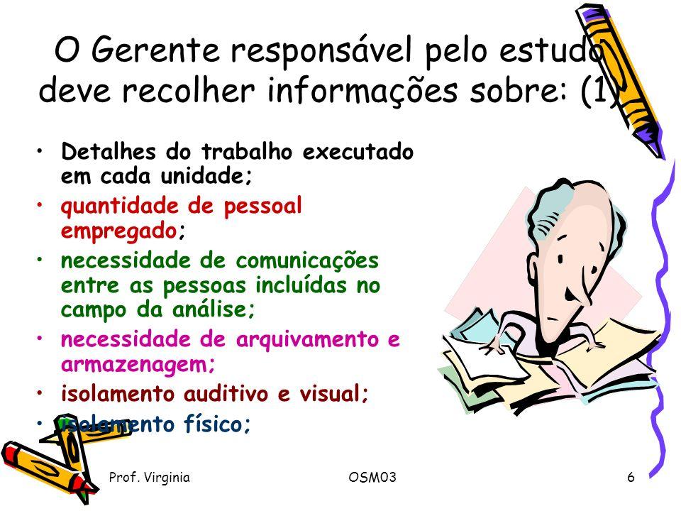 Prof. VirginiaOSM036 O Gerente responsável pelo estudo deve recolher informações sobre: (1) Detalhes do trabalho executado em cada unidade; quantidade