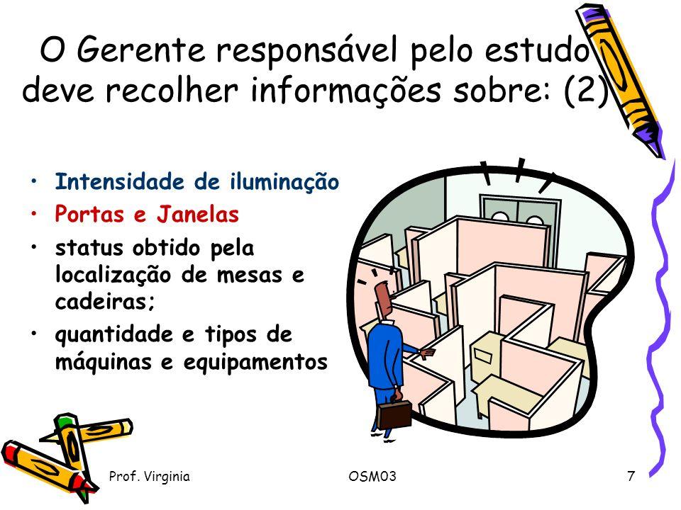 Prof. VirginiaOSM037 O Gerente responsável pelo estudo deve recolher informações sobre: (2) Intensidade de iluminação Portas e Janelas status obtido p