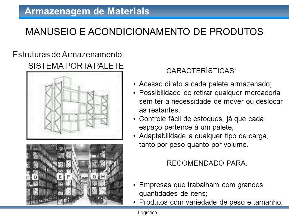 Logística Armazenagem de Materiais SISTEMA PORTA PALETE CARACTERÍSTICAS: Acesso direto a cada palete armazenado; Possibilidade de retirar qualquer mer