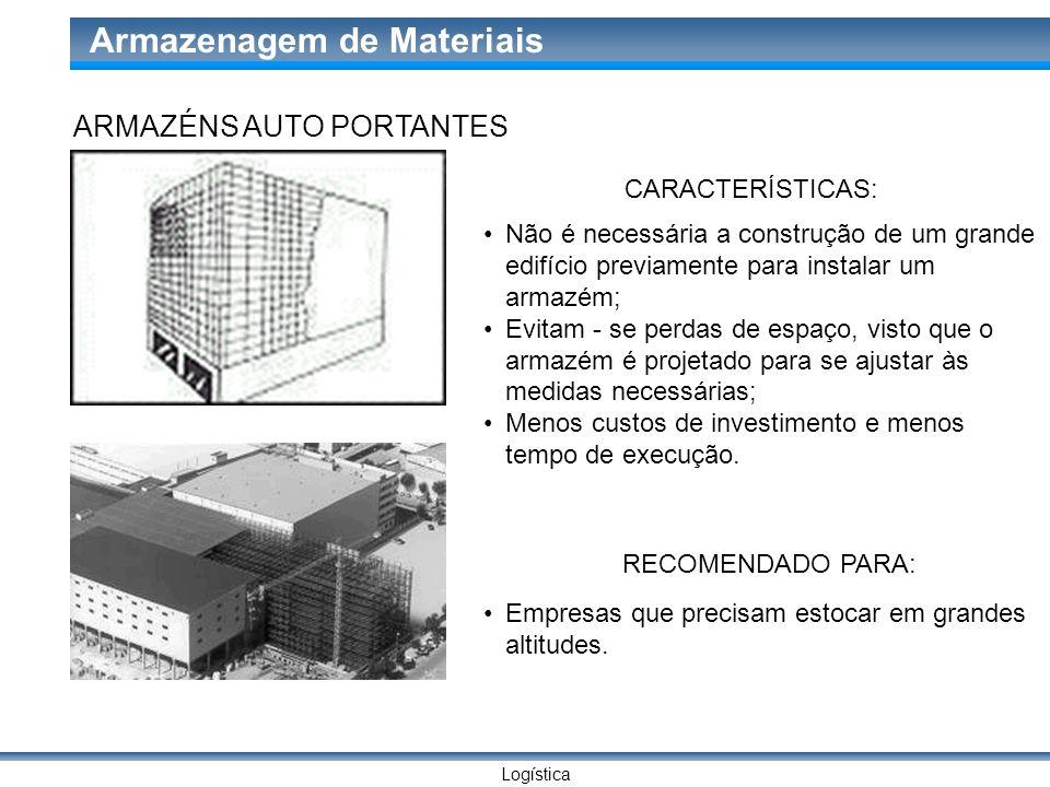 Logística Armazenagem de Materiais ARMAZÉNS AUTO PORTANTES CARACTERÍSTICAS: Não é necessária a construção de um grande edifício previamente para insta