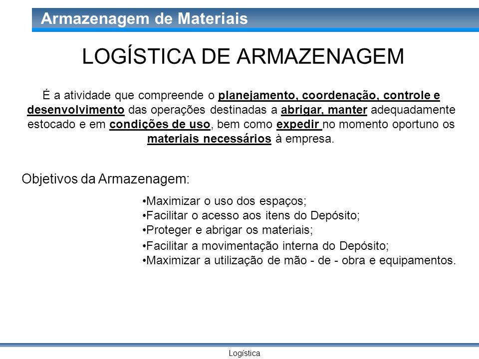Logística Armazenagem de Materiais LOGÍSTICA DE ARMAZENAGEM É a atividade que compreende o planejamento, coordenação, controle e desenvolvimento das o