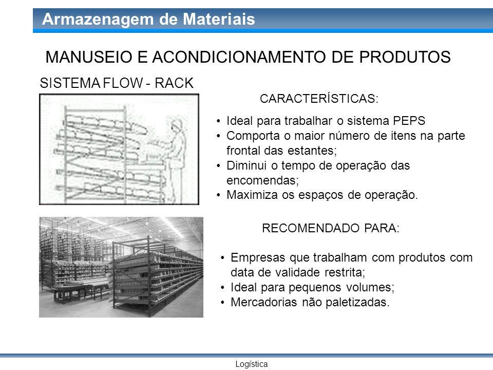 Logística Armazenagem de Materiais SISTEMA FLOW - RACK CARACTERÍSTICAS: Ideal para trabalhar o sistema PEPS Comporta o maior número de itens na parte