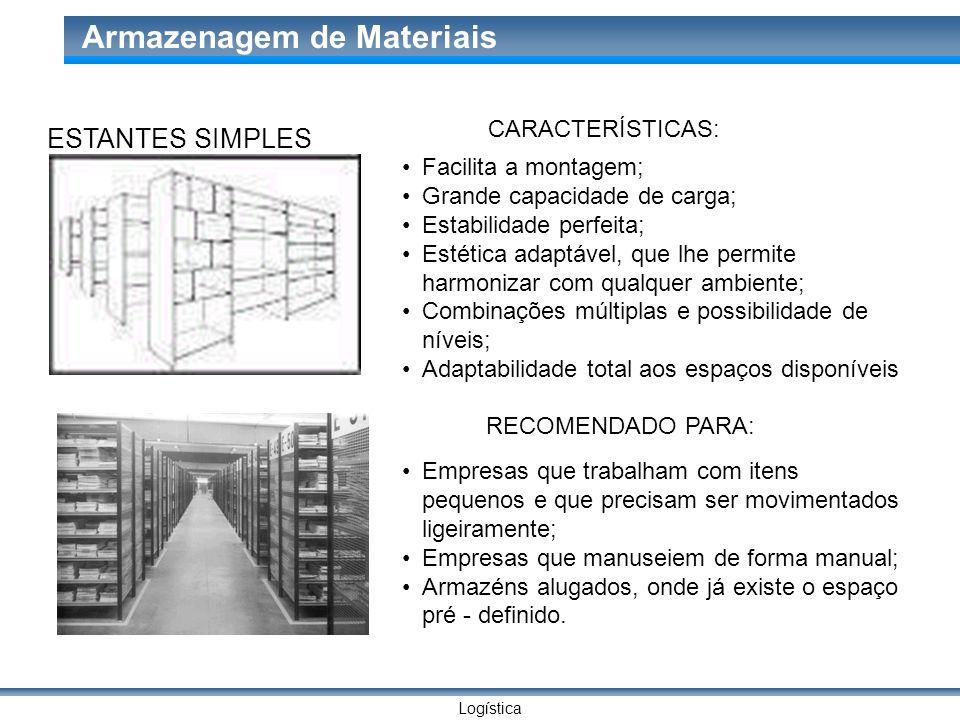 Logística Armazenagem de Materiais ESTANTES SIMPLES CARACTERÍSTICAS: Facilita a montagem; Grande capacidade de carga; Estabilidade perfeita; Estética