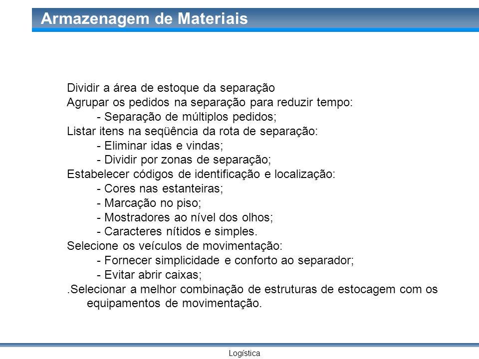 Logística Armazenagem de Materiais Dividir a área de estoque da separação Agrupar os pedidos na separação para reduzir tempo: - Separação de múltiplos