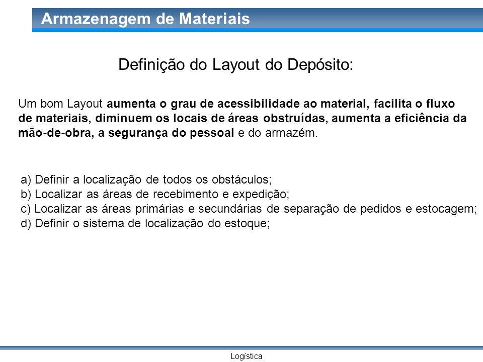 Logística Armazenagem de Materiais Um bom Layout aumenta o grau de acessibilidade ao material, facilita o fluxo de materiais, diminuem os locais de ár