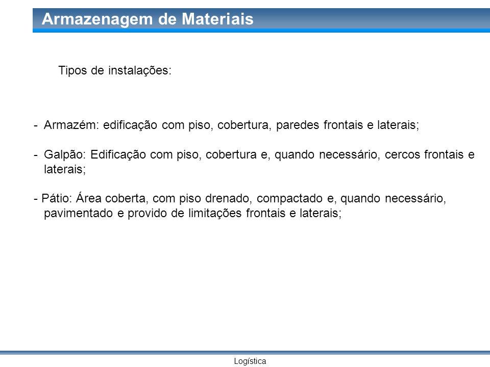 Logística Armazenagem de Materiais Tipos de instalações: -Armazém: edificação com piso, cobertura, paredes frontais e laterais; -Galpão: Edificação co