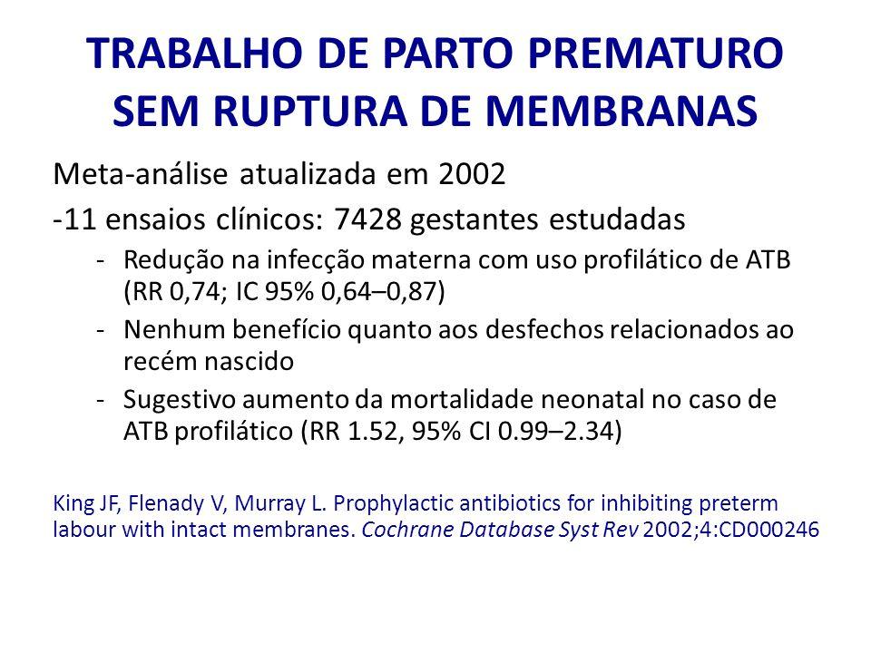 TRABALHO DE PARTO PREMATURO SEM RUPTURA DE MEMBRANAS Meta-análise atualizada em 2002 -11 ensaios clínicos: 7428 gestantes estudadas -Redução na infecç