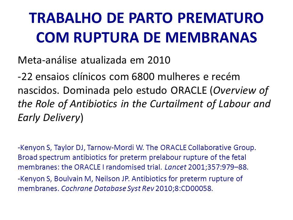 TRABALHO DE PARTO PREMATURO COM RUPTURA DE MEMBRANAS Meta-análise atualizada em 2010 -22 ensaios clínicos com 6800 mulheres e recém nascidos. Dominada