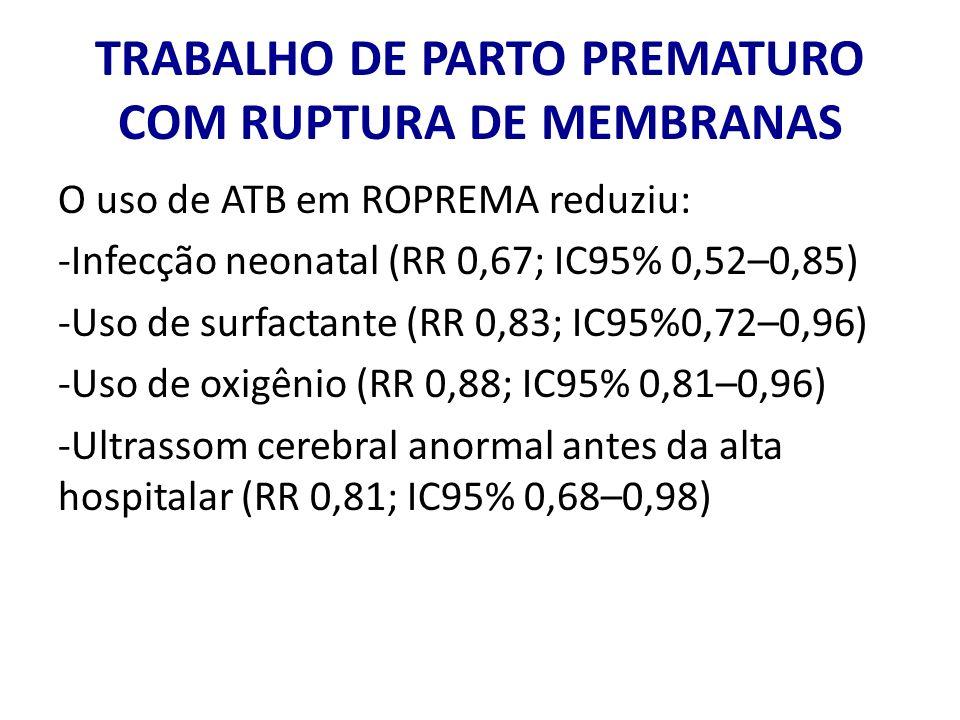 TRABALHO DE PARTO PREMATURO COM RUPTURA DE MEMBRANAS O uso de ATB em ROPREMA reduziu: -Infecção neonatal (RR 0,67; IC95% 0,52–0,85) -Uso de surfactant